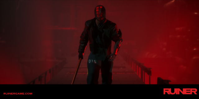 "Still from Ruiner: Cyborg man with ""kill you"" repeatedly displayed on a digital mask"